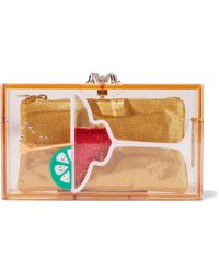 Charlotte Olympia - Woman Pandora Cocktail Embellished Perspex Box Clutch Yellow - Lyst