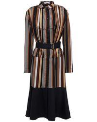 Palmer//Harding Belted Striped Satin-jacquard Midi Shirt Dress Dark Brown