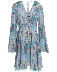 Matthew Williamson - Pom Pom-trimmed Printed Silk Mini Dress - Lyst