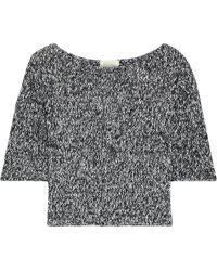 American Vintage Ithaco Cropped Mélange Open-knit Linen-blend Top - Black