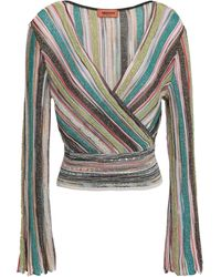 Missoni - Wrap-effect Metallic Striped Crochet-knit Top Turquoise - Lyst