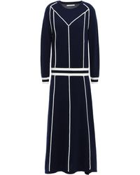 Chinti & Parker Striped Wool And Cashmere-blend Midi Dress Midnight Blue