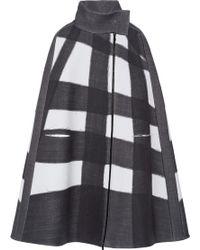 Bottega Veneta Oversized Checked Stretch Wool-blend Cape - Multicolour