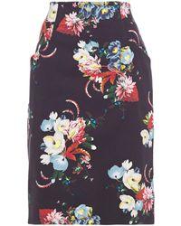 Erdem Floral-print Stretch-cotton Twill Skirt - Black