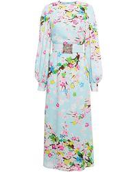 Andrew Gn Embellished Floral-print Silk Crepe De Chine Midi Dress Light Blue - Multicolour