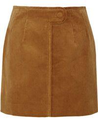 Topshop Unique - Otley Cotton-corduroy Mini Skirt - Lyst