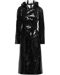 ALEXACHUNG Belted Vinyl Trench Coat Black
