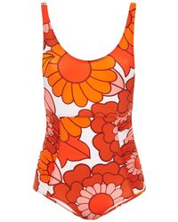 Dodo Bar Or Ruched Floral-print Swimsuit Bright Orange