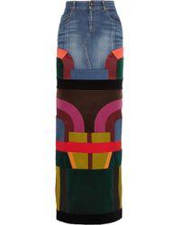 Tom Ford Satin And Velvet-paneled Stretch-denim Maxi Skirt - Blue