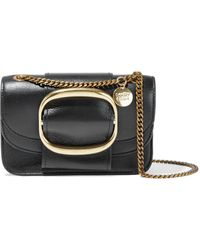 See By Chloé See By Chloé Hopper Buckle-embellished Textured-leather Shoulder Bag Black
