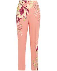Etro Floral-print Crepe Slim-leg Trousers Antique Rose - Pink