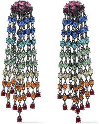 Oscar de la Renta - Gunmetal-tone Crystal Clip Earrings - Lyst