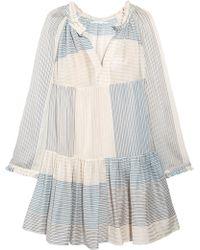 Stella McCartney - Patchwork-effect Striped Cotton And Silk-blend Mini Dress - Lyst
