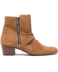 Amiri Gathered Suede Ankle Boots Light Brown