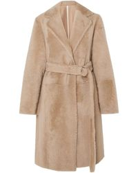 Yves Salomon Belted Shearling Coat Neutral - Natural