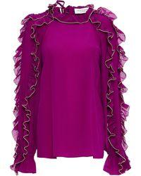 Hofmann Copenhagen Charlotte Ruffled Printed Silk Crepe De Chine Blouse - Purple