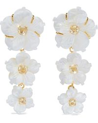 Bounkit 14-karat Gold-plated, Mother-of-pearl And Quartz Earrings - White