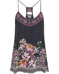 Camilla - Crystal-embellished Printed Silk Crepe De Chine Camisole - Lyst