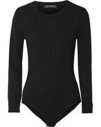 Jill Stuart Selma Ribbed-knit Bodysuit - Black