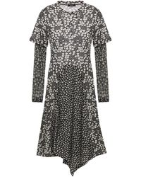 Goen.J Asymmetric Floral-print Stretch-jersey And Tulle Dress - Black