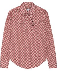 Title A - Pussy-bow Printed Cotton-poplin Shirt - Lyst