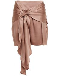 Michelle Mason Knotted Draped Silk-charmeuse Mini Skirt Antique Rose - Pink