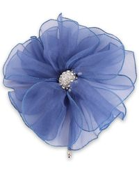 Lanvin Silver-tone, Crystal And Organza Brooch Blue