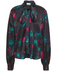 Ganni Pussy-bow Floral-print Silk-blend Satin Blouse - Black