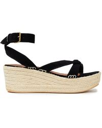 Ba&sh Candella Knotted Suede Espadrille Wedge Sandals - Black