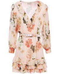 Nicholas Tiered Floral-print Silk-georgette Mini Dress Blush - Pink