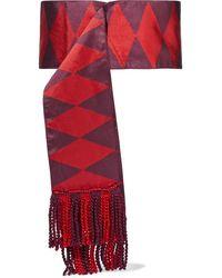 Etro Fringed Silk-jacquard Waist Belt - Red