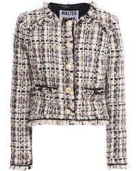 Walter Baker Baca Faux Leather-trimmed Frayed Tweed Jacket Cream - Natural