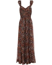 Ulla Johnson Evianna Pleated Fil Coupé Printed Silk And Lurex-blend Gown - Brown
