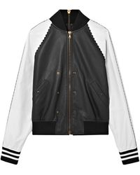 Tomas Maier - Woman Zip-embellished Two-tone Leather Bomber Jacket Black - Lyst
