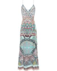 Camilla Crystal-embellished Printed Silk Crepe De Chine Maxi Wrap Dress Turquoise - Blue