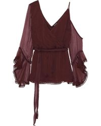 Love Sam Cold-shoulder Wrap-effect Georgette Blouse Burgundy - Multicolour