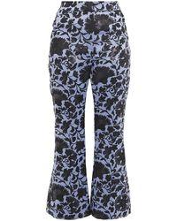 Erdem Eda Metallic Floral-jacquard Kick-flare Trousers - Blue