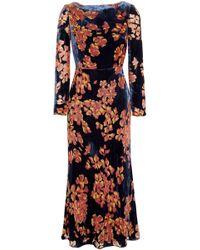 Saloni Floral-print Velvet Midi Dress Midnight Blue