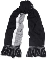 Magaschoni Ruffle-trimmed Color-block Cashmere Scarf - Black