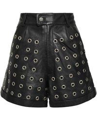 Antik Batik West Embellished Leather Shorts Black