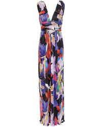 Rebecca Vallance Belladonna Bow-embellished Metallic Printed Knitted Gown - Blue