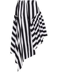 Marques'Almeida Asymmetric Gathered Striped Cotton Midi Skirt - White