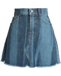 10 Crosby Derek Lam - Frayed Two-tone Denim Mini Skirt - Lyst