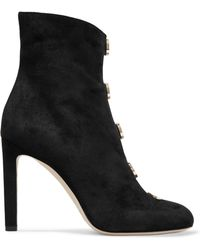 Jimmy Choo - Button-detailed Suede Ankle Boots - Lyst