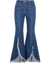 SJYP - Frayed Mid-rise Flared Jeans - Lyst