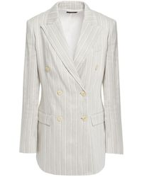 Theory Double-breasted Pinstriped Linen-blend Blazer Light Grey