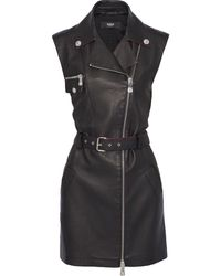 Versus Belted Textured-leather And Jersey Mini Dress Black