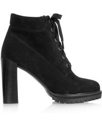 Karl Lagerfeld Lace-up Suede Ankle Boots - Black