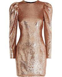 Alexandre Vauthier Gathered Sequined Mesh Mini Dress Rose Gold - Metallic