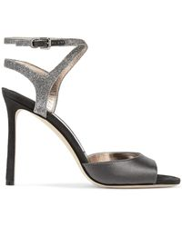 5ae4a53aa323 Jimmy Choo - Woman Helen 100 Glitter-trimmed Satin And Suede Sandals  Anthracite - Lyst